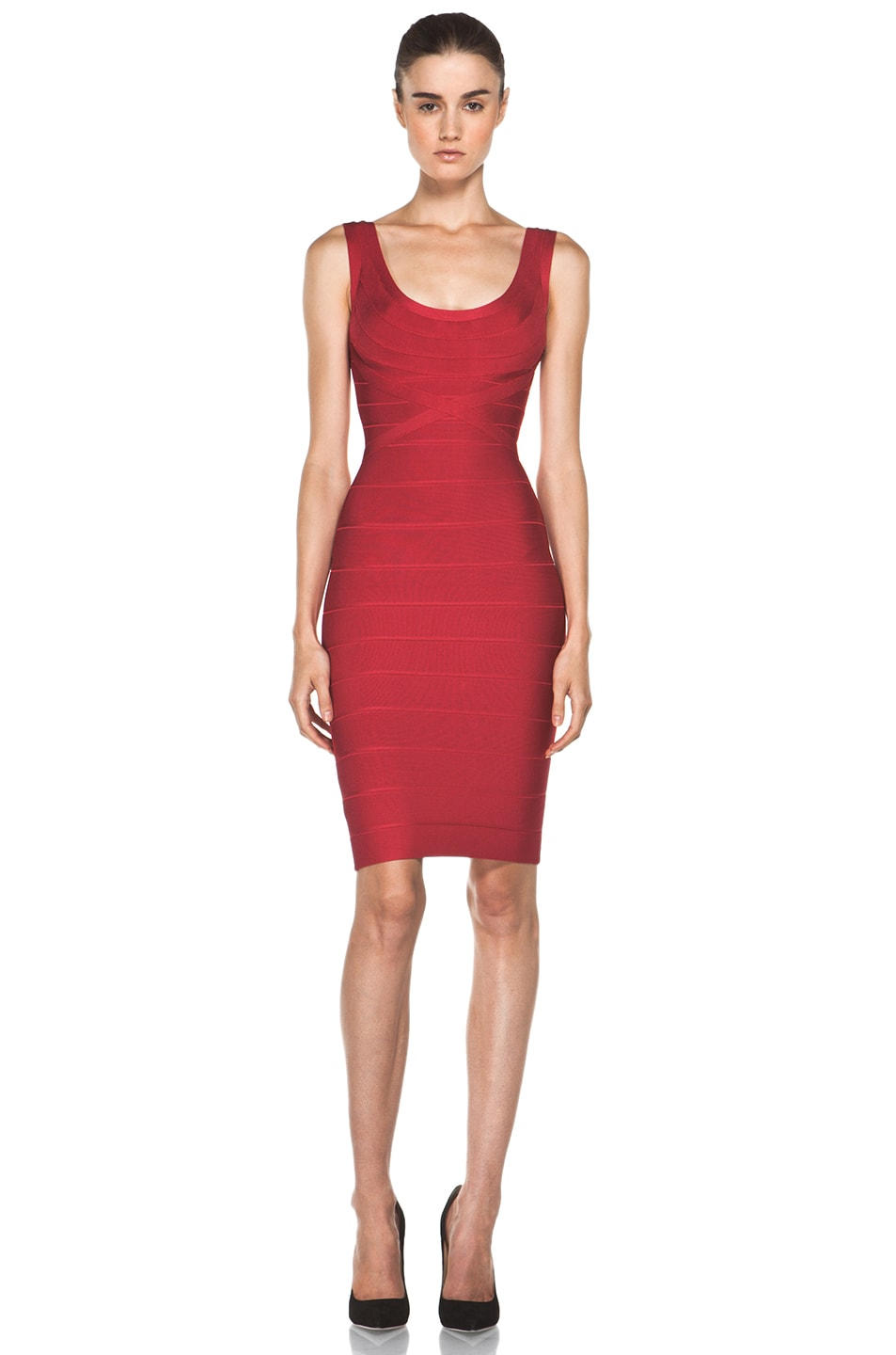 Image 1 of Herve Leger Above the Knee Tank Dress in Rio Red