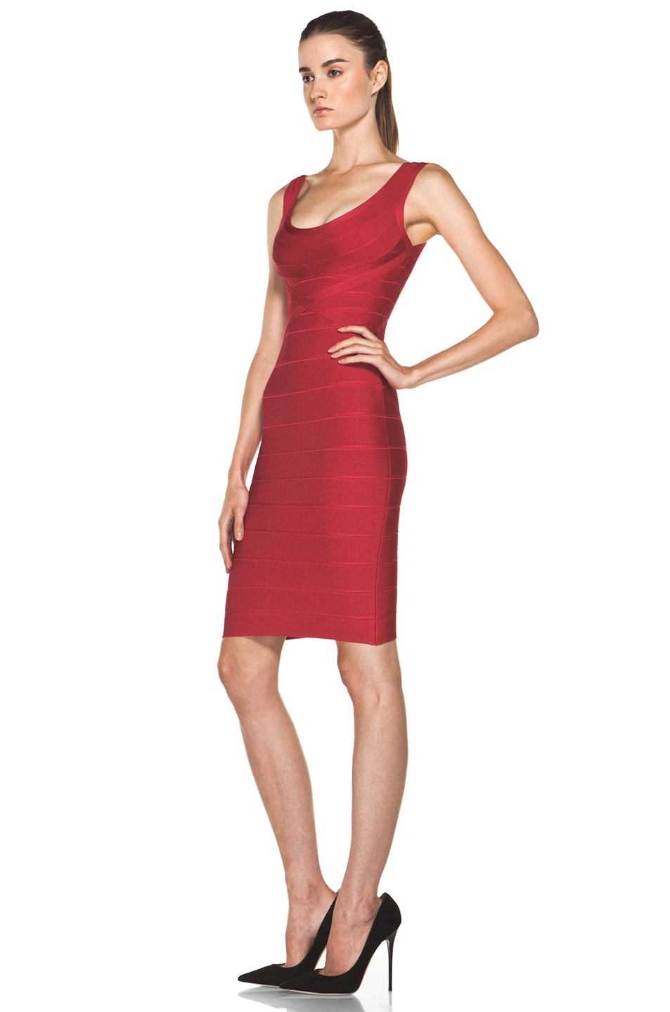Image 2 of Herve Leger Above the Knee Tank Dress in Rio Red