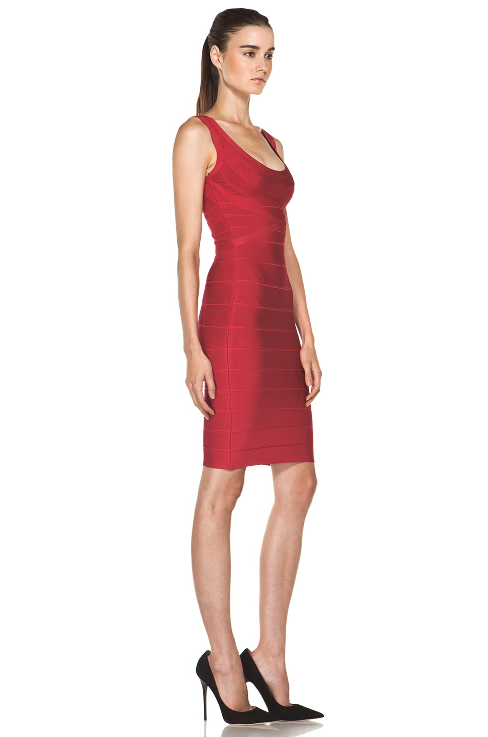 Image 3 of Herve Leger Above the Knee Tank Dress in Rio Red