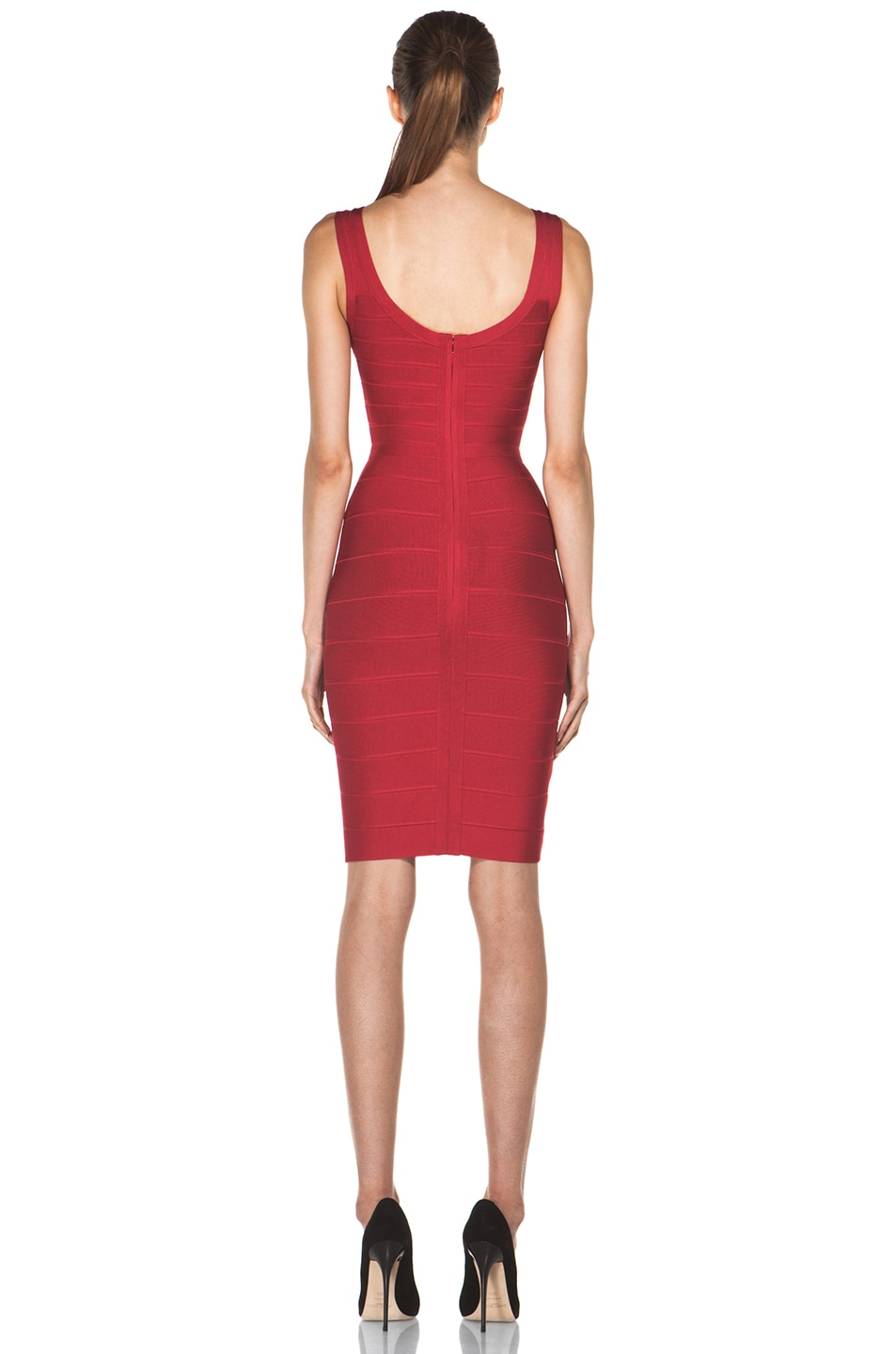 Image 4 of Herve Leger Above the Knee Tank Dress in Rio Red