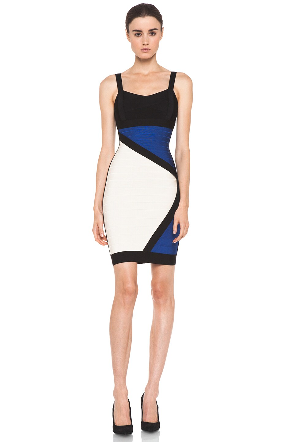 Image 1 of Herve Leger Color Block Above the Knee Tank Dress in Corozo Combo