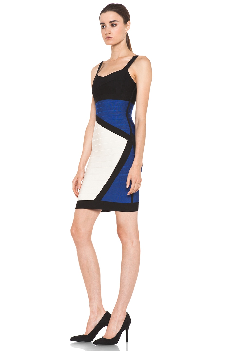 Image 2 of Herve Leger Color Block Above the Knee Tank Dress in Corozo Combo