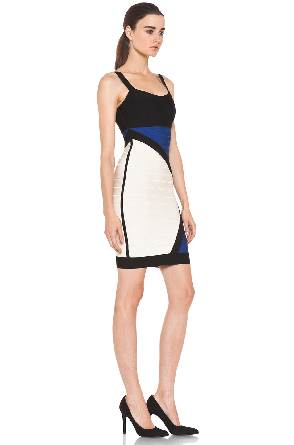 Image 3 of Herve Leger Color Block Above the Knee Tank Dress in Corozo Combo