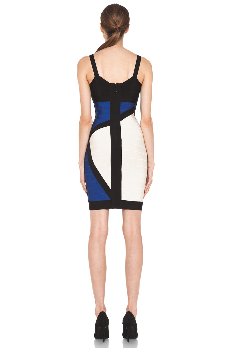 Image 4 of Herve Leger Color Block Above the Knee Tank Dress in Corozo Combo