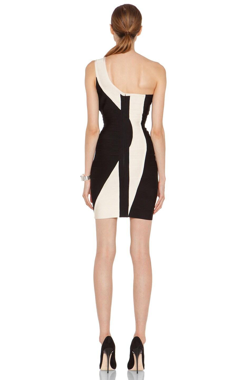 Image 4 of Herve Leger One Shoulder Mid Thigh Color Panel Dress in Black Combo