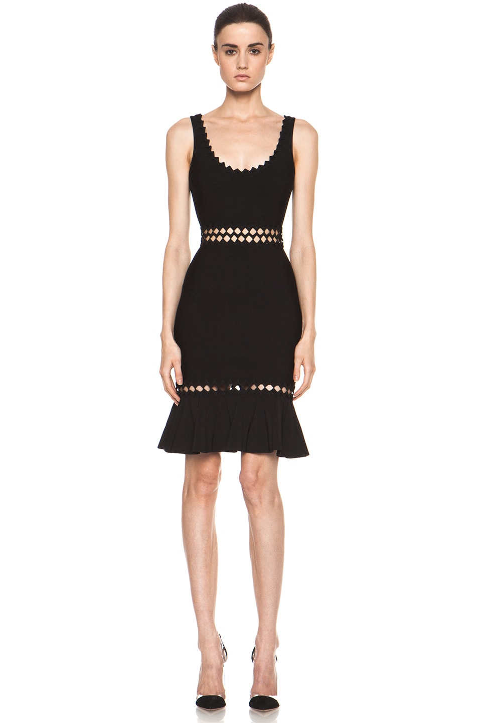 Image 1 of Herve Leger Cut Out Above the Knee Mermaid Cut Dress in Black