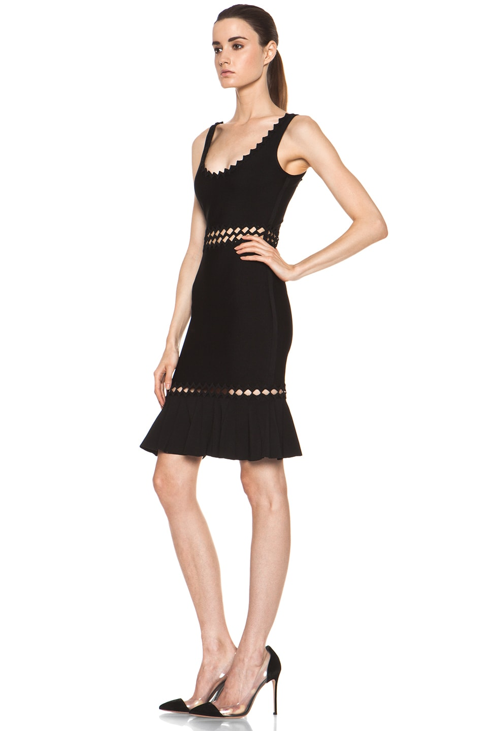 Image 2 of Herve Leger Cut Out Above the Knee Mermaid Cut Dress in Black