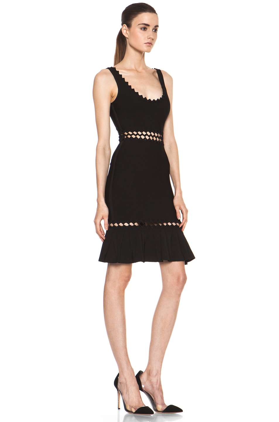 Image 3 of Herve Leger Cut Out Above the Knee Mermaid Cut Dress in Black