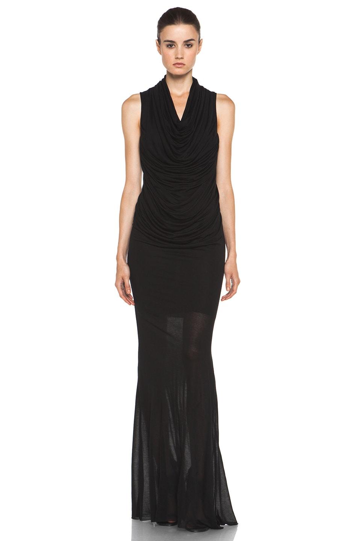 Image 1 of Helmut Lang Slack Jersey Maxi Cowl Dress in Black