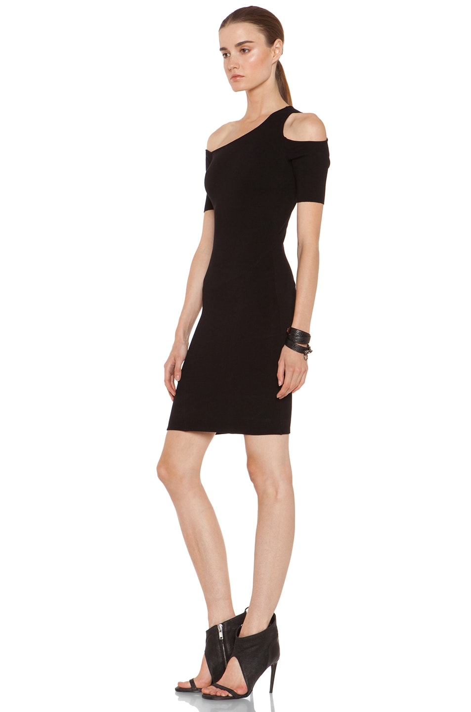 Image 2 of HELMUT Gala Knit One Shoulder Dress in Black