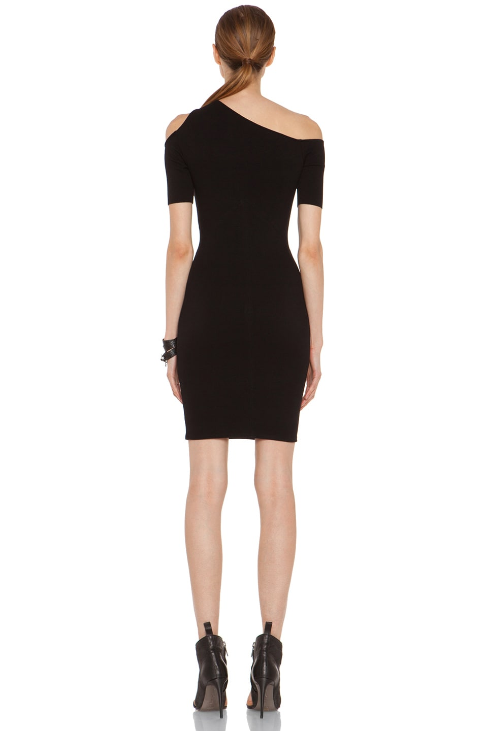 Image 4 of HELMUT Gala Knit One Shoulder Dress in Black