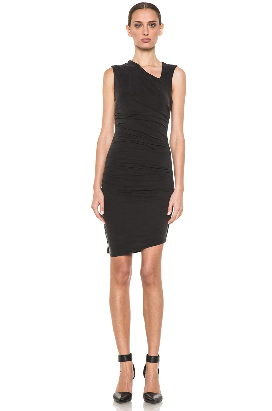 Image 1 of HELMUT Helmut Lang Tuck Cupro Dress in Black