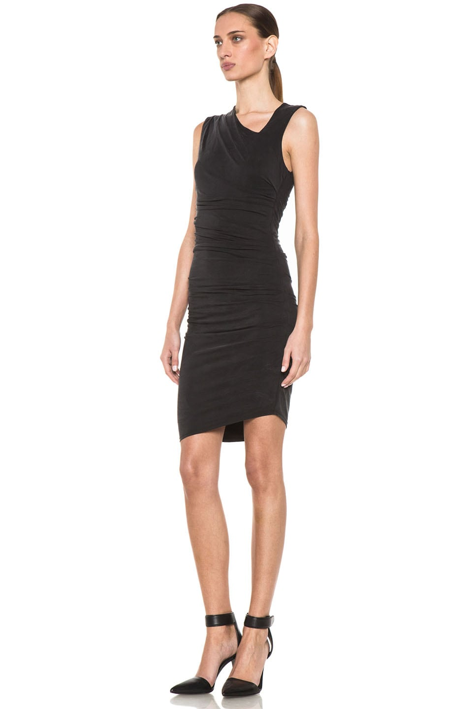 Image 2 of HELMUT Helmut Lang Tuck Cupro Dress in Black