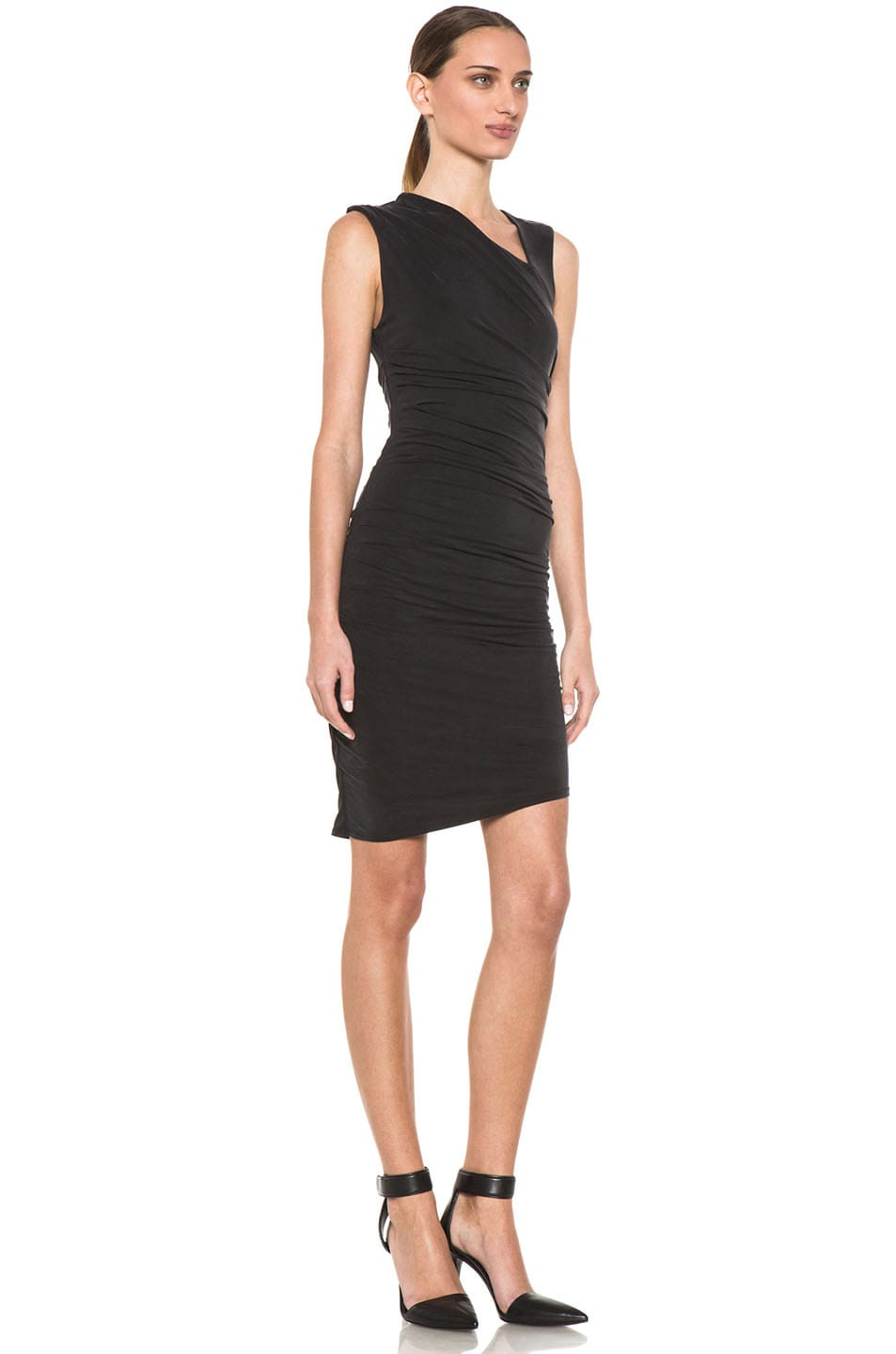 Image 3 of HELMUT Helmut Lang Tuck Cupro Dress in Black