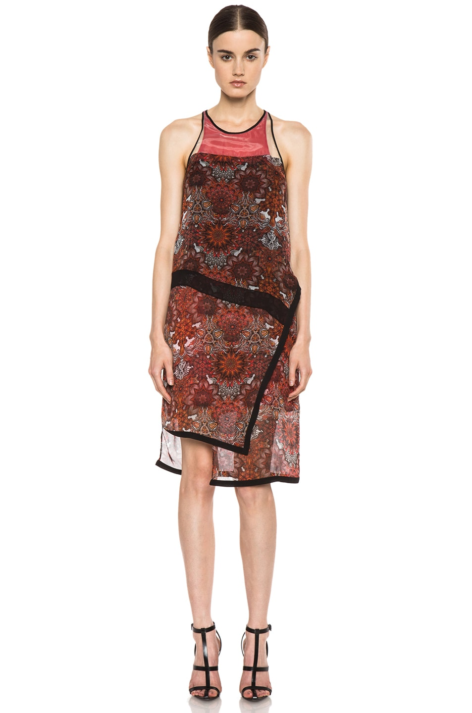 Image 1 of Helmut Lang Printed Layer Dress in Red Multi