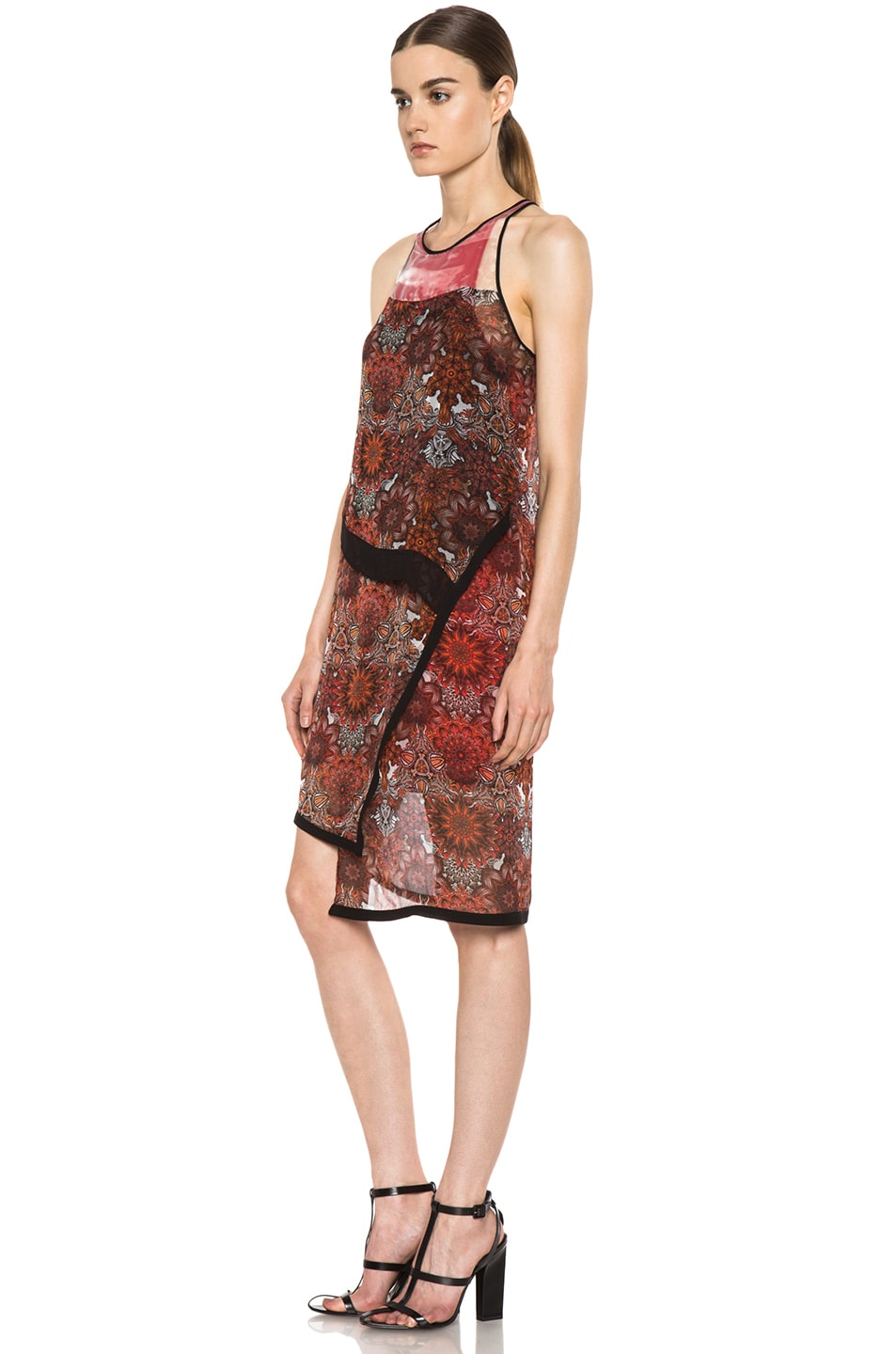 Image 2 of Helmut Lang Printed Layer Dress in Red Multi