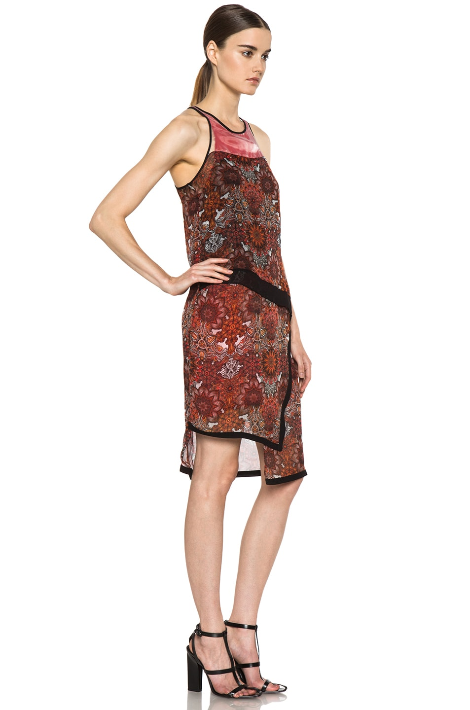 Image 3 of Helmut Lang Printed Layer Dress in Red Multi