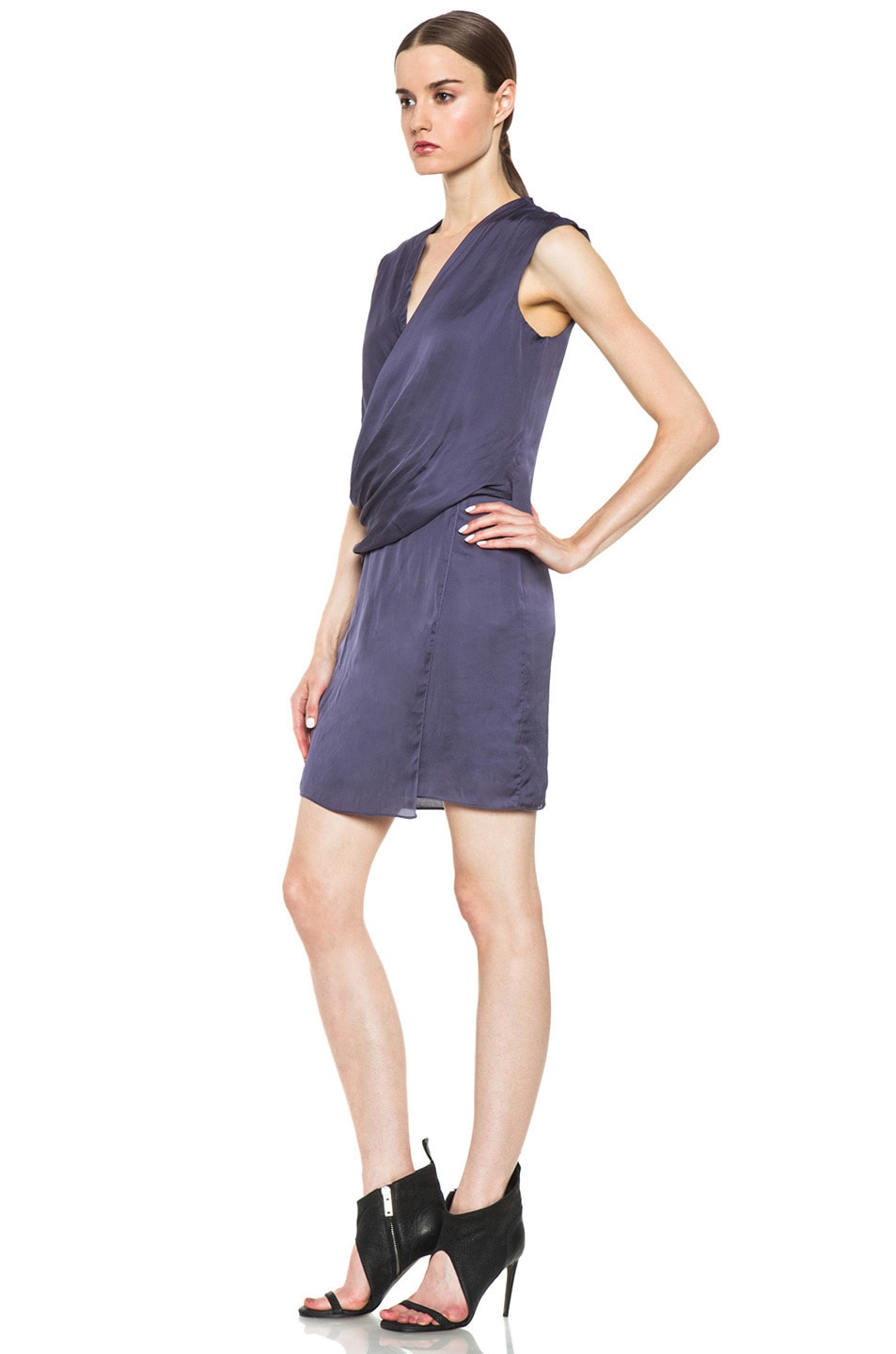 Image 2 of HELMUT Helmut Lang Glassy Shirting Drape Dress in Titan