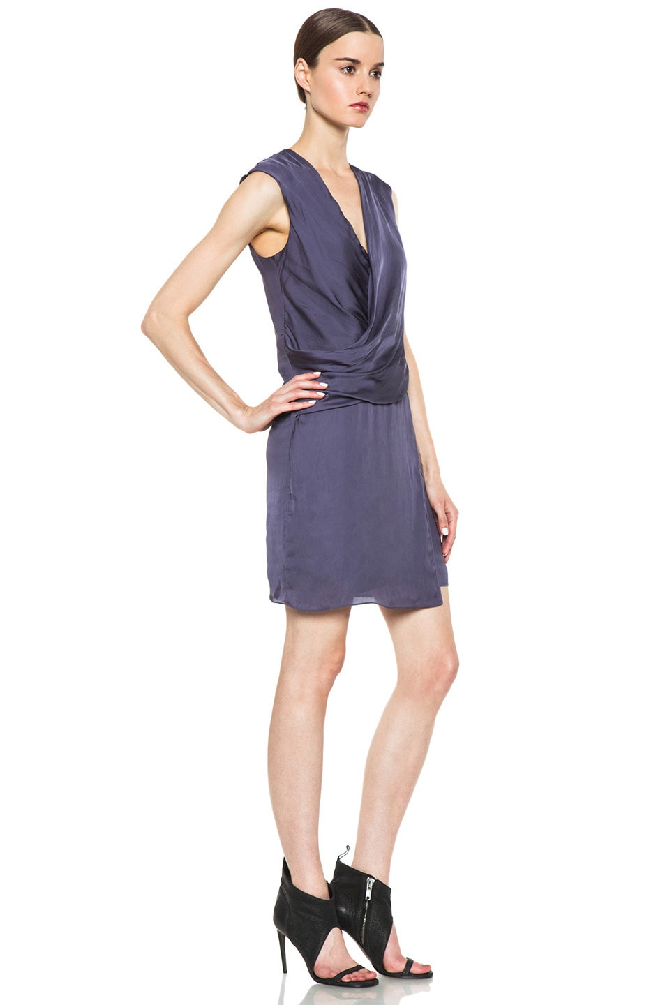 Image 3 of HELMUT Helmut Lang Glassy Shirting Drape Dress in Titan