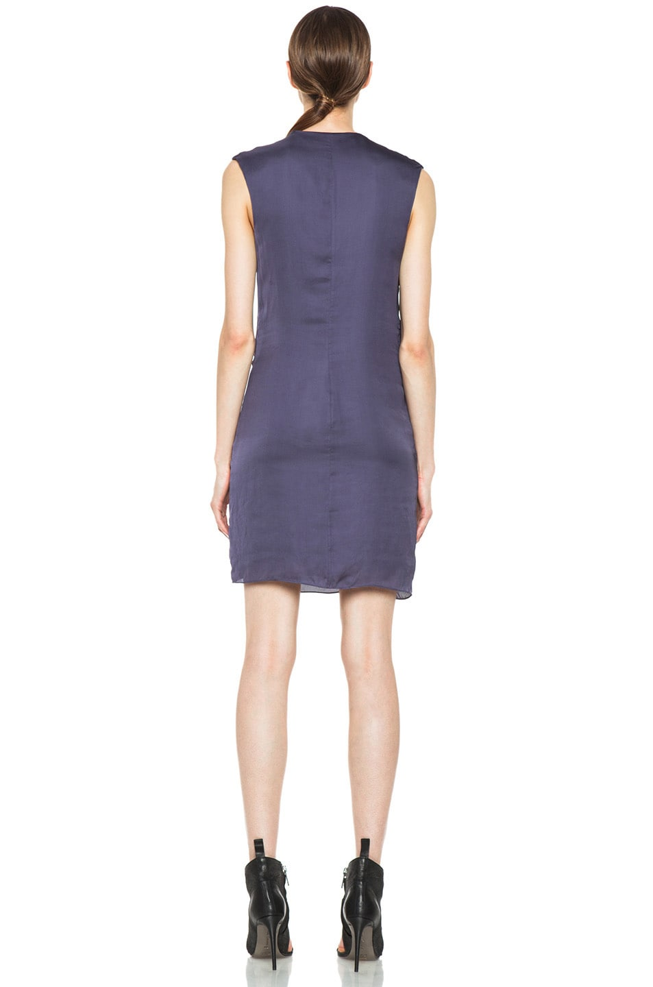 Image 4 of HELMUT Helmut Lang Glassy Shirting Drape Dress in Titan