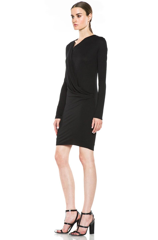 Image 2 of HELMUT Helmut Lang Feather Jersey Long Sleeve Drape Dress in Black