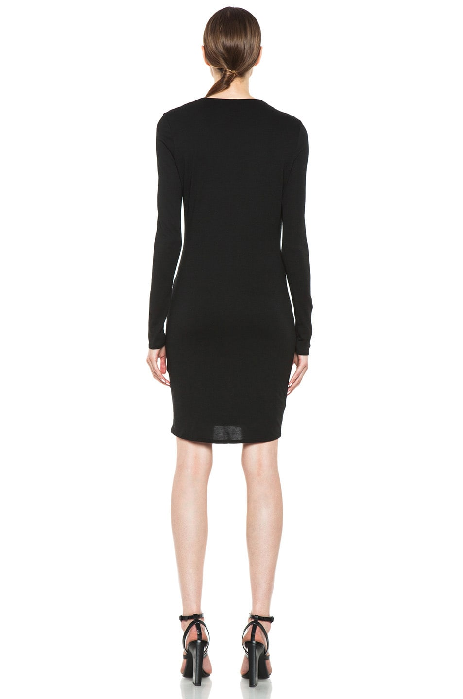 Image 4 of HELMUT Helmut Lang Feather Jersey Long Sleeve Drape Dress in Black