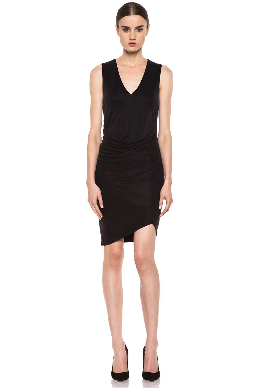 Image 1 of HELMUT Helmut Lang Shale Jersey Side Tuck Dress in Black