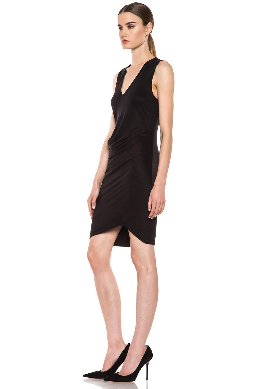 Image 2 of HELMUT Helmut Lang Shale Jersey Side Tuck Dress in Black