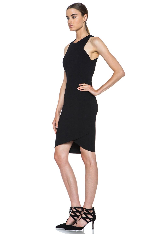 Image 2 of HELMUT Helmut Lang Form Knit Asymmetric Hem Dress in Black