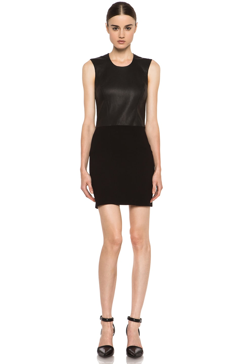 Image 1 of HELMUT Helmut Lang Gala Knit Leather Combo Dress in Black