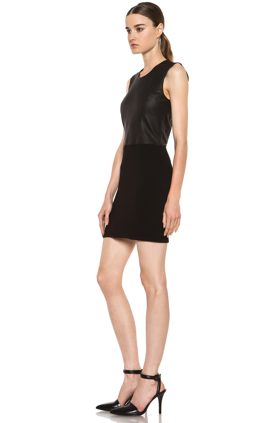 Image 2 of HELMUT Helmut Lang Gala Knit Leather Combo Dress in Black