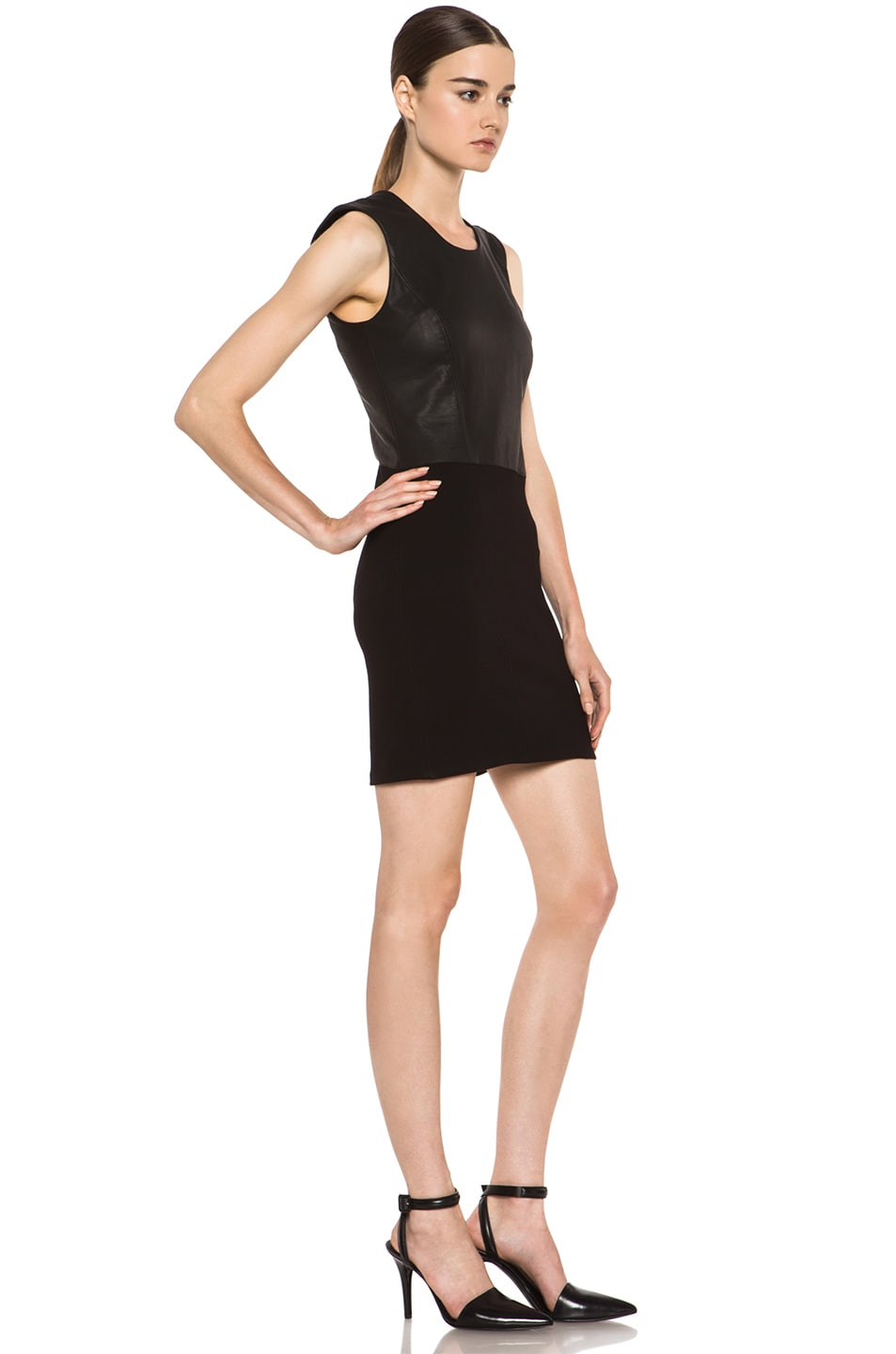 Image 3 of HELMUT Helmut Lang Gala Knit Leather Combo Dress in Black
