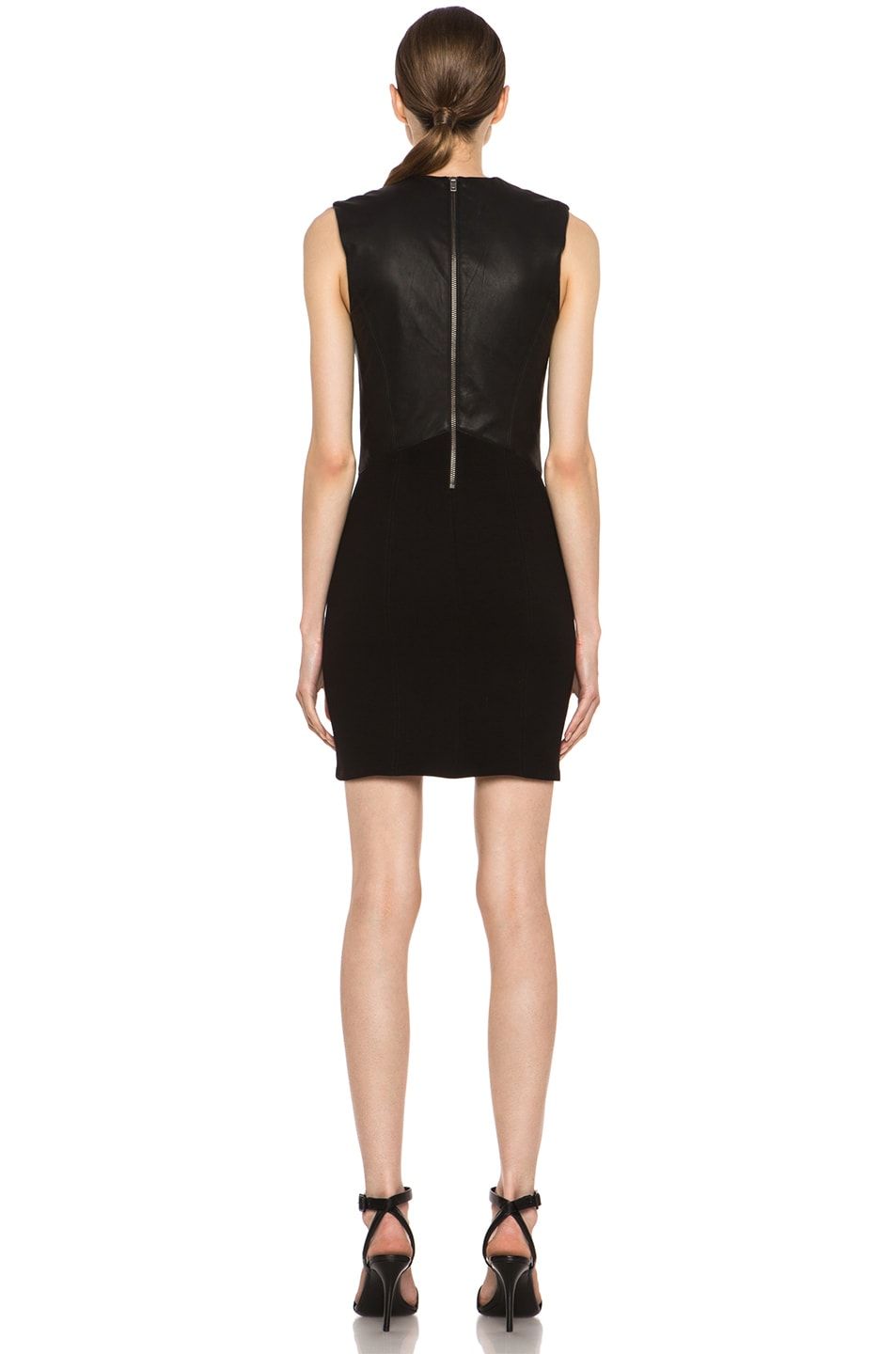 Image 4 of HELMUT Helmut Lang Gala Knit Leather Combo Dress in Black