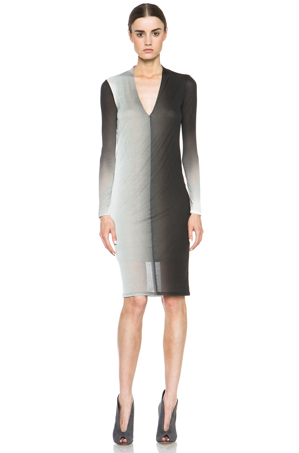 Image 1 of Helmut Lang Shadow Ombre Jersey Deep V-Neck Dress in Black Multi