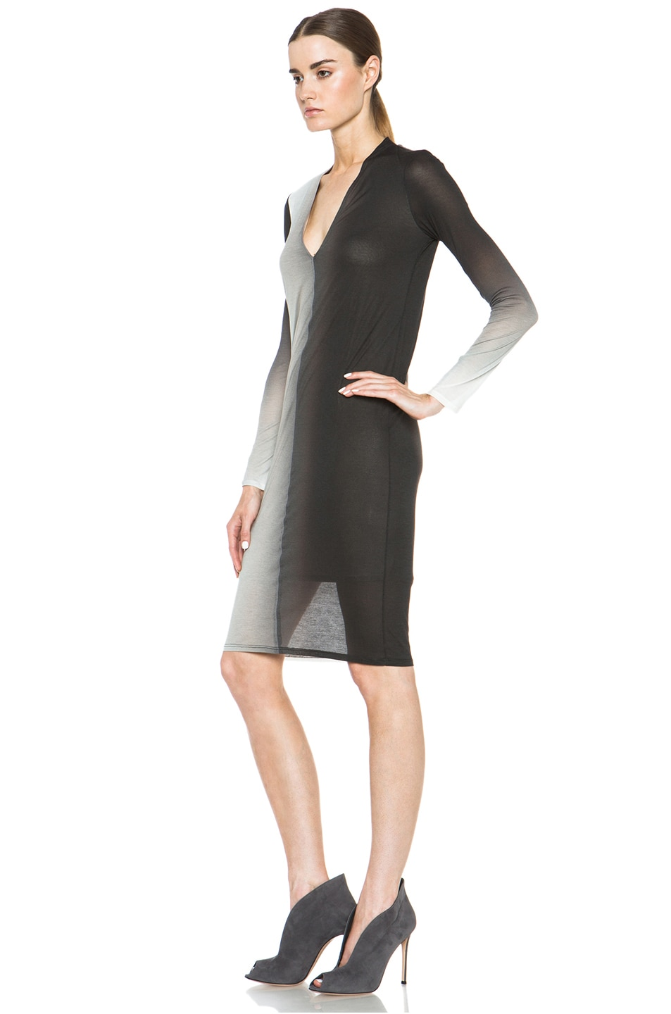 Image 2 of Helmut Lang Shadow Ombre Jersey Deep V-Neck Dress in Black Multi