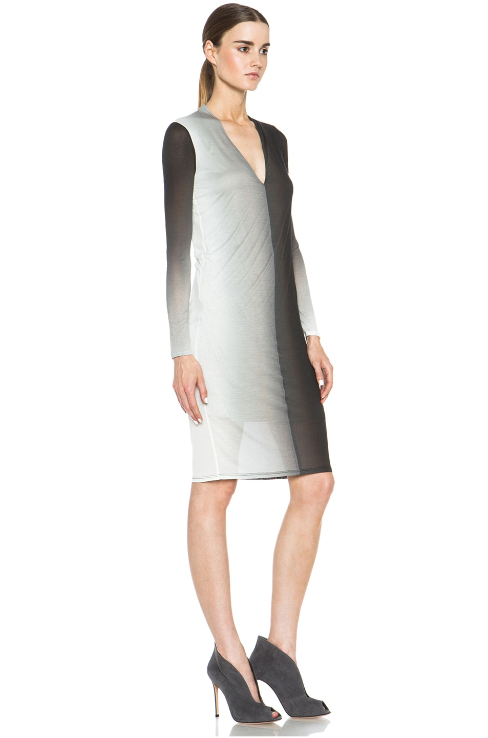 Image 3 of Helmut Lang Shadow Ombre Jersey Deep V-Neck Dress in Black Multi