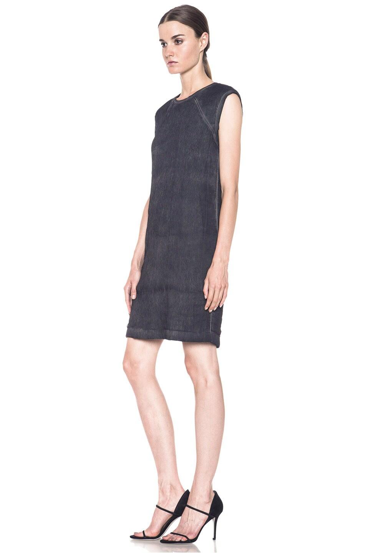 Image 2 of HELMUT Helmut Lang Washed Front Tuck Cotton-Blend Dress in Black