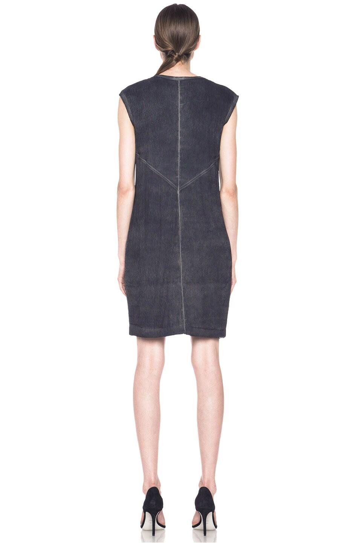 Image 4 of HELMUT Helmut Lang Washed Front Tuck Cotton-Blend Dress in Black