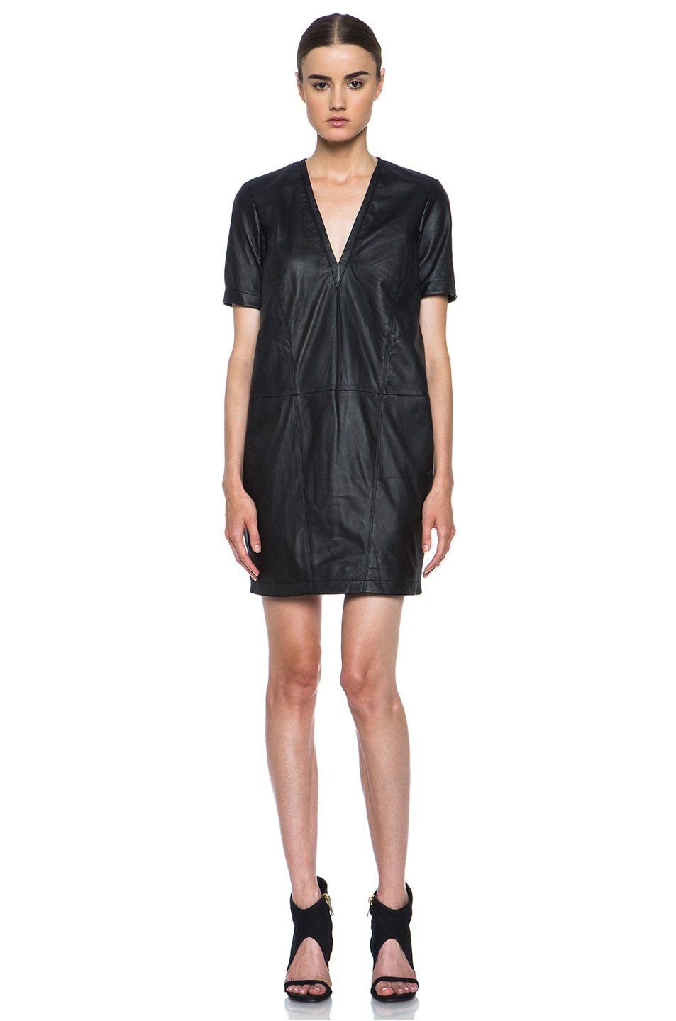 Image 1 of HELMUT Helmut Lang Washed Leather Shirt Dress in Black