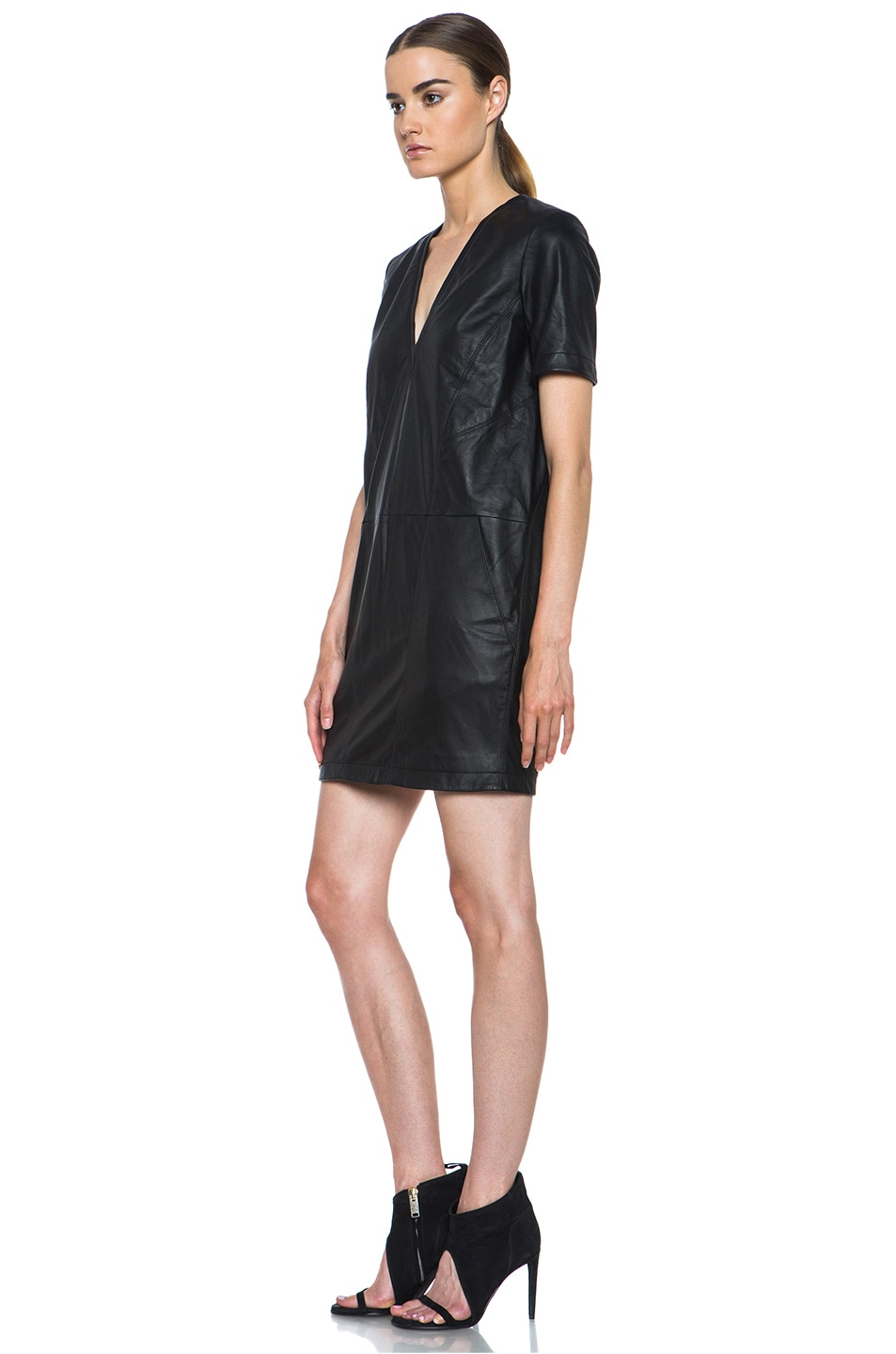 Image 2 of HELMUT Helmut Lang Washed Leather Shirt Dress in Black