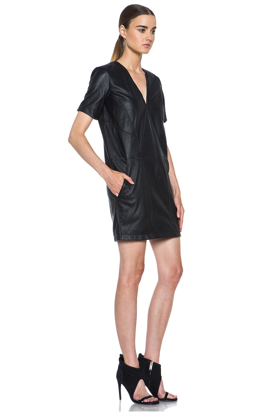 Image 3 of HELMUT Helmut Lang Washed Leather Shirt Dress in Black