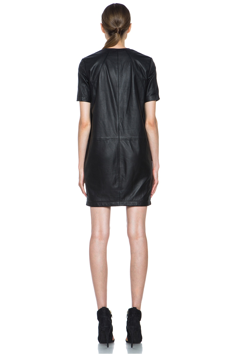 Image 4 of HELMUT Helmut Lang Washed Leather Shirt Dress in Black