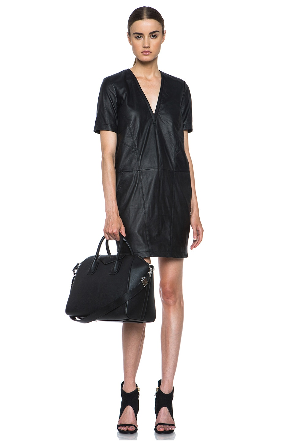 Image 5 of HELMUT Helmut Lang Washed Leather Shirt Dress in Black