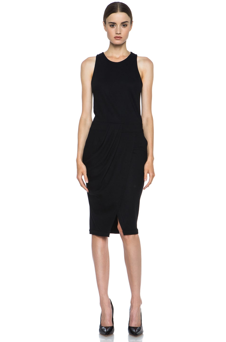 Image 1 of Helmut Lang Sonar Wool Drape Dress in Black