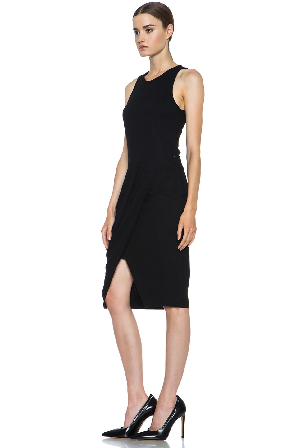 Image 2 of Helmut Lang Sonar Wool Drape Dress in Black