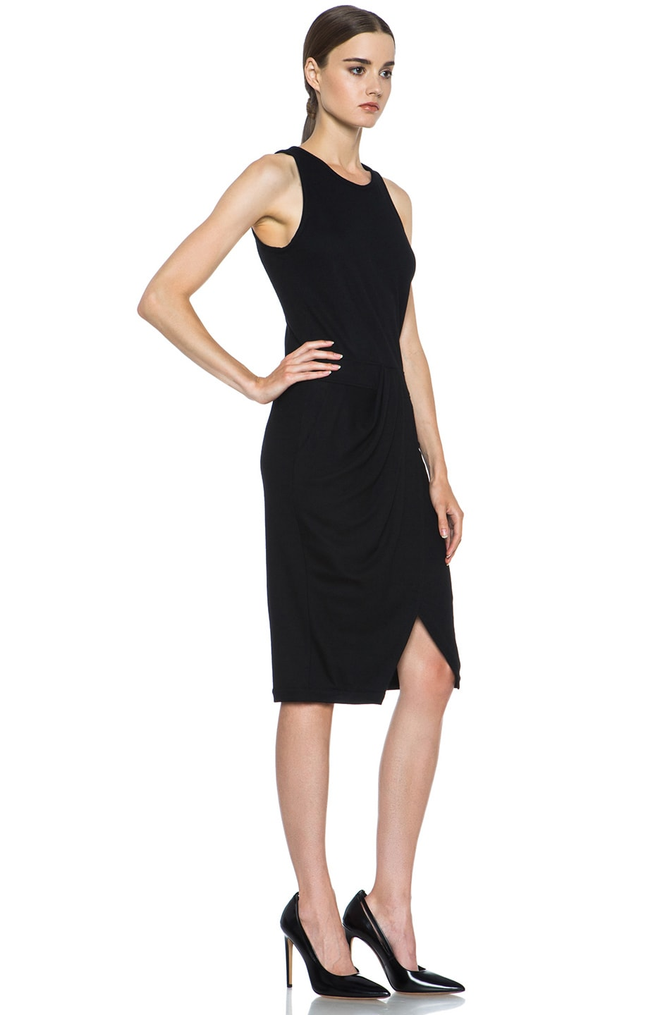 Image 3 of Helmut Lang Sonar Wool Drape Dress in Black