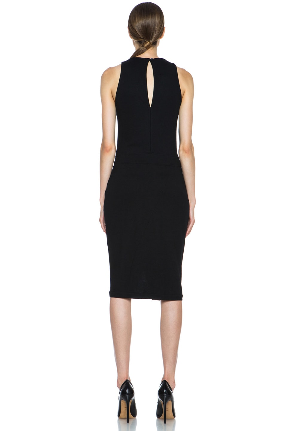 Image 4 of Helmut Lang Sonar Wool Drape Dress in Black