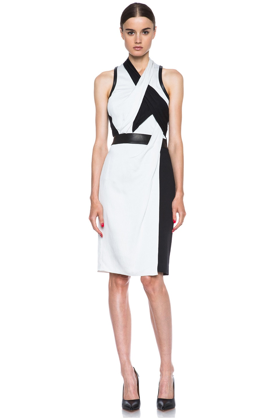Image 1 of Helmut Lang Grained Viscose Twisted Drape Dress in Pearl