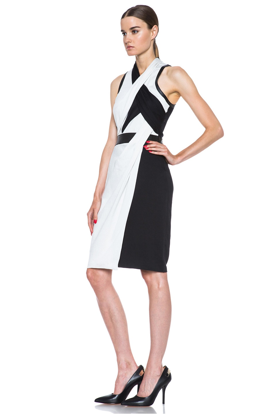 Image 2 of Helmut Lang Grained Viscose Twisted Drape Dress in Pearl