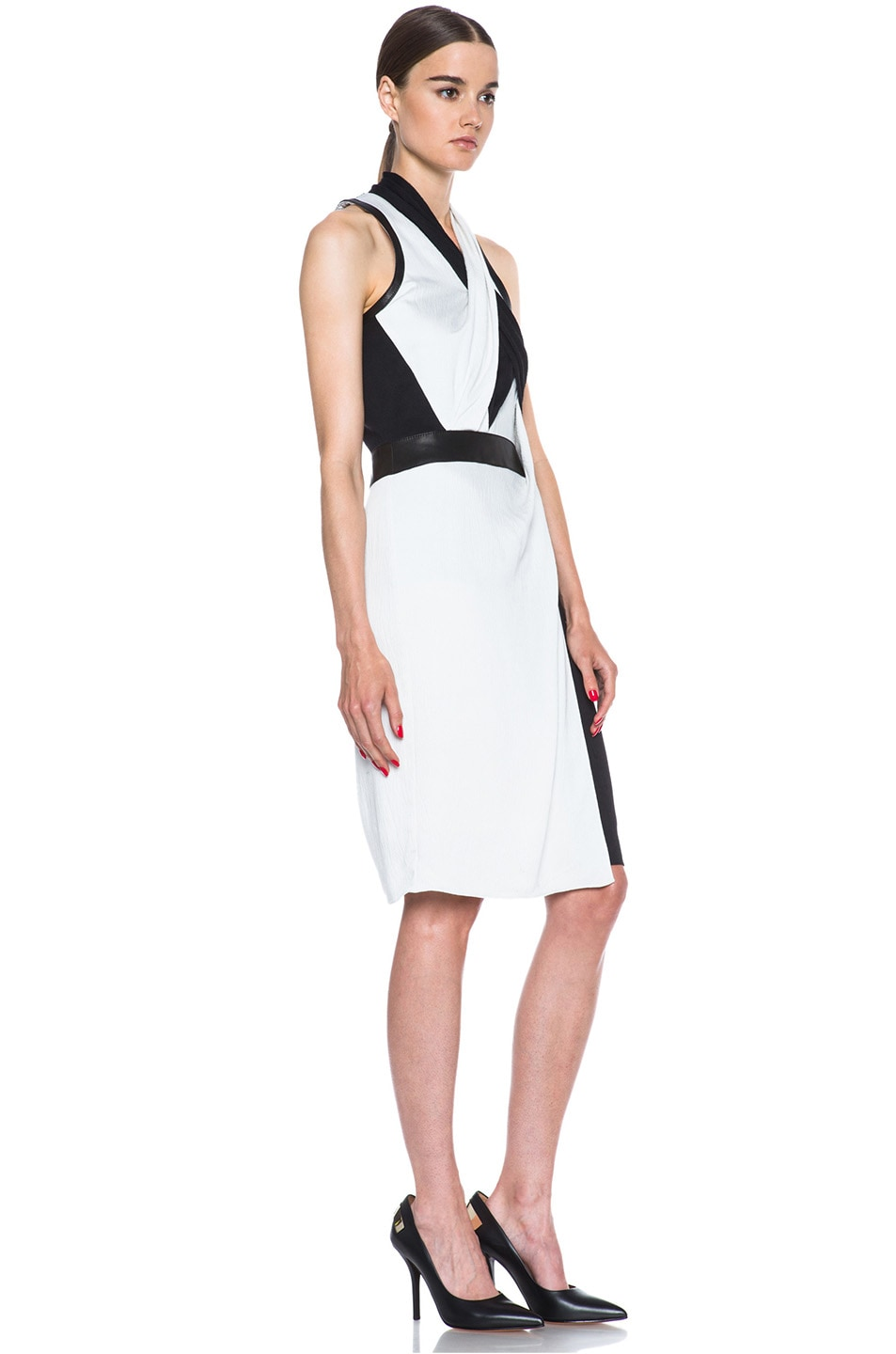 Image 3 of Helmut Lang Grained Viscose Twisted Drape Dress in Pearl